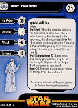 Star Wars Miniature Stat Card - Wat Tambor, #41 - Rare