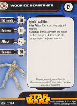 Star Wars Miniature Stat Card - Wookiee Berserker, #22 - Common