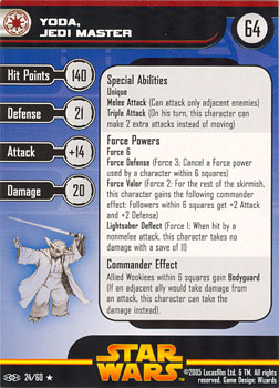 Star Wars Miniature Stat Card - Yoda, Jedi Master, #24 - Rare
