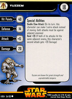Star Wars Miniature Stat Card - Yuzzem, #54 - Common