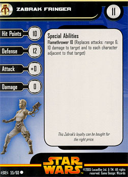 Star Wars Miniature Stat Card - Zabrak Fringer, #55 - Common