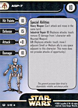 Star Wars Miniature Stat Card - ASP-7, #14 - Uncommon