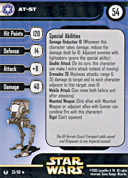 Star Wars Miniature Stat Card - AT-ST, #33 - Rare