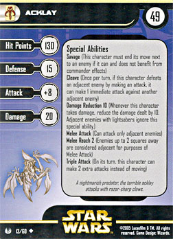 Star Wars Miniature Stat Card - Acklay, #13 - Uncommon