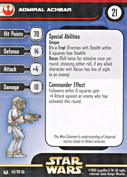 Star Wars Miniature Stat Card - Admiral Ackbar, #43 - Very Rare