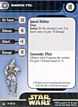 Star Wars Miniature Stat Card - Baron Fel, #34 - Very Rare