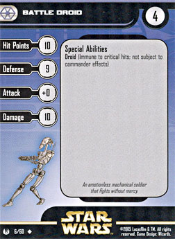 Star Wars Miniature Stat Card - Battle Droid, #6 - Uncommon