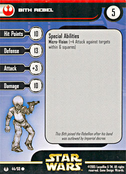 Star Wars Miniature Stat Card - Bith Rebel, #44 - Common