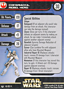 Star Wars Miniature Stat Card - Chewbacca, Rebel Hero, #45 - Rare