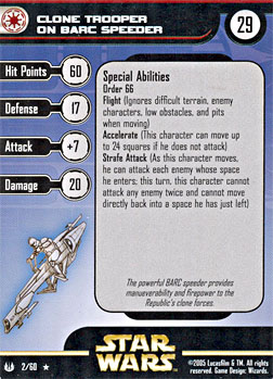 Star Wars Miniature Stat Card - Clone Trooper on BARC Speeder, #2 - Rare