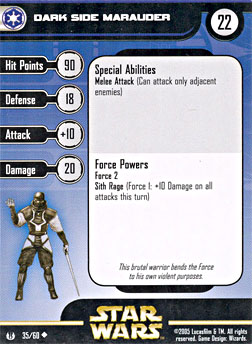 Star Wars Miniature Stat Card - Dark Side Marauder, #35 - Uncommon