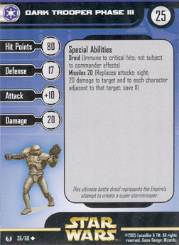 Star Wars Miniature Stat Card - Dark Trooper Phase III, #36 - Uncommon