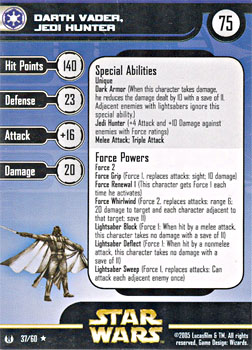 Star Wars Miniature Stat Card - Darth Vader, Jedi Hunter, #37 - Rare