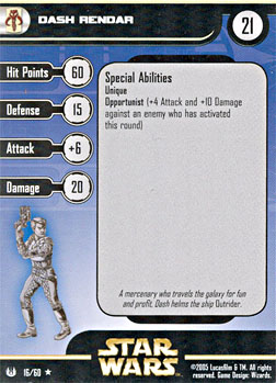 Star Wars Miniature Stat Card - Dash Rendar, #16 - Rare