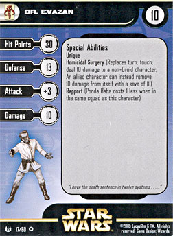 Star Wars Miniature Stat Card - Dr. Evazan, #17 - Very Rare