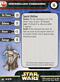 Star Wars Miniature Stat Card - Dressellian Commando, #46 - Common