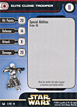 Star Wars Miniature Stat Card - Elite Clone Trooper, #3 - Uncommon