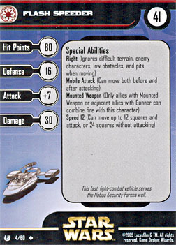 Star Wars Miniature Stat Card - Flash Speeder, #4 - Uncommon