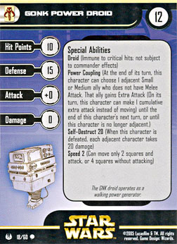 Star Wars Miniature Stat Card - Gonk Power Droid, #18 - Common