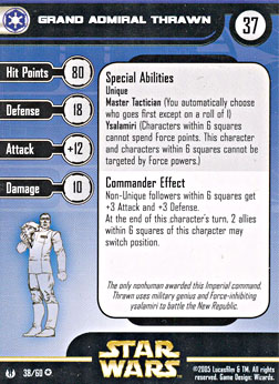 Star Wars Miniature Stat Card - Grand Admiral Thrawn, #38 - Very Rare