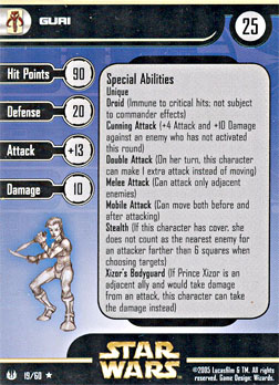 Star Wars Miniature Stat Card - Guri, #19 - Rare