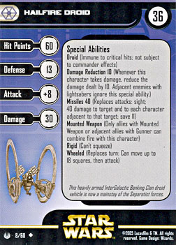 Star Wars Miniature Stat Card - Hailfire Droid, #8 - Uncommon