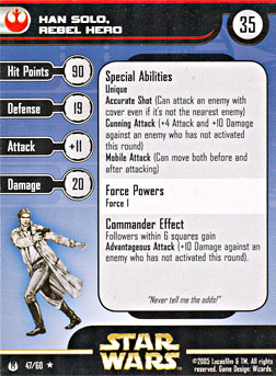 Star Wars Miniature Stat Card - Han Solo, Rebel Hero, #47 - Rare