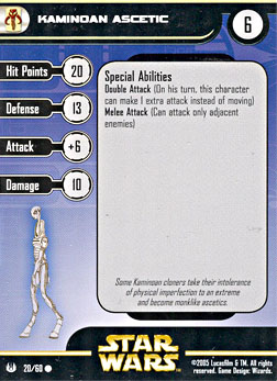 Star Wars Miniature Stat Card - Kaminoan Ascetic, #20 - Common