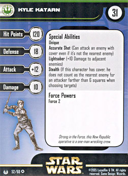 Star Wars Miniature Stat Card - Kyle Katarn, #52 - Very Rare