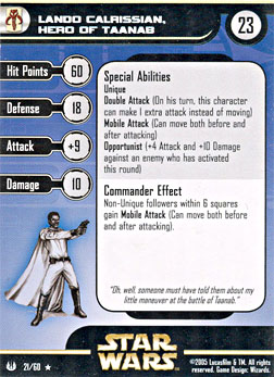 Star Wars Miniature Stat Card - Lando Calrissian, Hero of Taanab, #21 - Rare