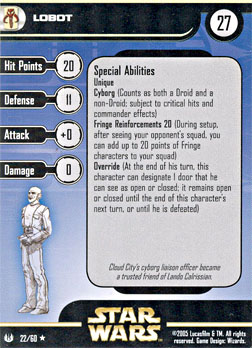 Star Wars Miniature Stat Card - Lobot, #22 - Rare
