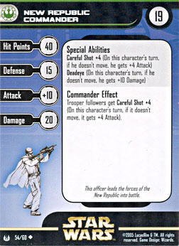 Star Wars Miniature Stat Card - New Republic Commander, #54 - Uncommon