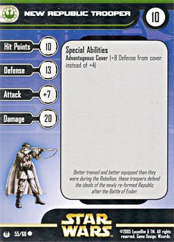 Star Wars Miniature Stat Card - New Republic Trooper, #55 - Common