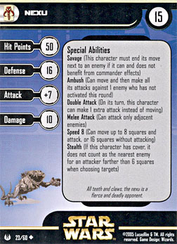 Star Wars Miniature Stat Card - Nexu, #23 - Uncommon