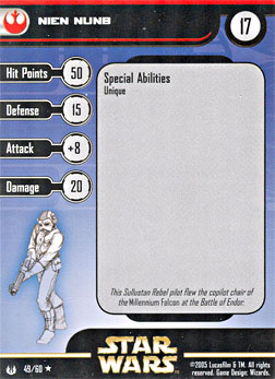 Star Wars Miniature Stat Card - Nien Nunb, #49 - Rare