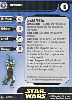 Star Wars Miniature Stat Card - Noghri, #40 - Uncommon
