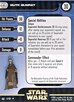 Star Wars Miniature Stat Card - Nute Gunray, #9 - Rare