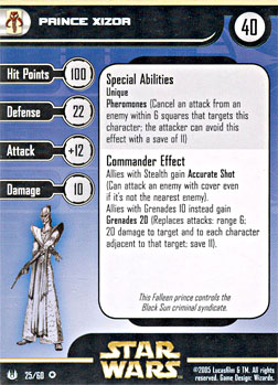 Star Wars Miniature Stat Card - Prince Xizor, #25 - Very Rare