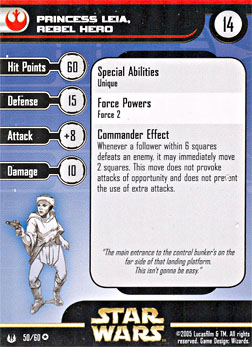 Star Wars Miniature Stat Card - Princess Leia, Rebel Hero, #50 - Very Rare