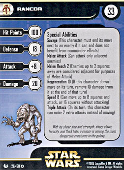 Star Wars Miniature Stat Card - Rancor, #26 - Very Rare