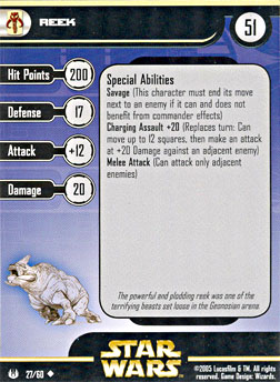 Star Wars Miniature Stat Card - Reek, #27 - Uncommon