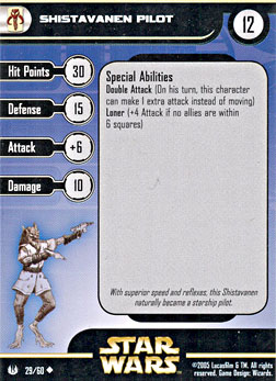 Star Wars Miniature Stat Card - Shistavanen Pilot, #29 - Uncommon