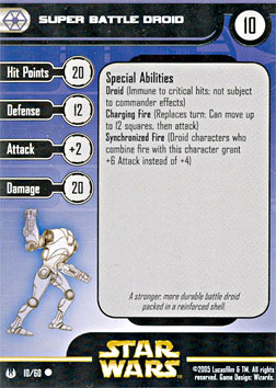Star Wars Miniature Stat Card - Super Battle Droid, #10 - Common