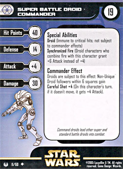 Star Wars Miniature Stat Card - Super Battle Droid Commander, #11 - Uncommon