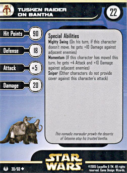 Star Wars Miniature Stat Card - Tusken Raider on Bantha, #30 - Uncommon