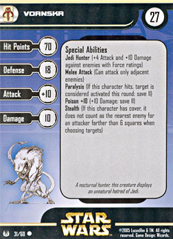 Star Wars Miniature Stat Card - Vornskr, #31 - Common