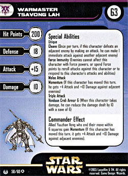Star Wars Miniature Stat Card - Warmaster Tsavong Lah, #58 - Very Rare