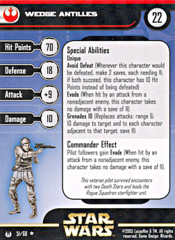 Star Wars Miniature Stat Card - Wedge Antilles, #51 - Rare