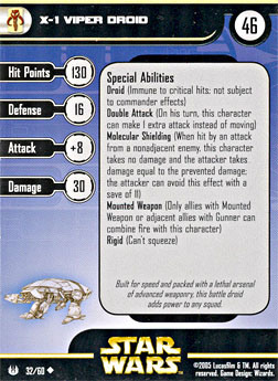 Star Wars Miniature Stat Card - X-1 Viper Droid, #32 - Uncommon