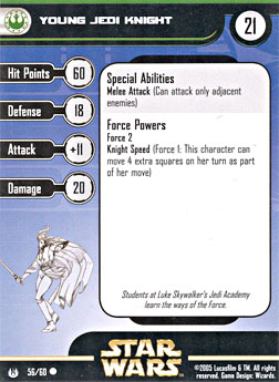 Star Wars Miniature Stat Card - Young Jedi Knight, #56 - Common
